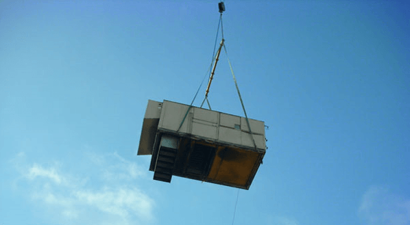 Shopping-Center-air conditioning removal by crane