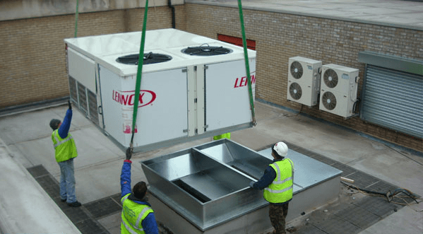 rayvac installing fitting new hvac in essex on shopping centre roof